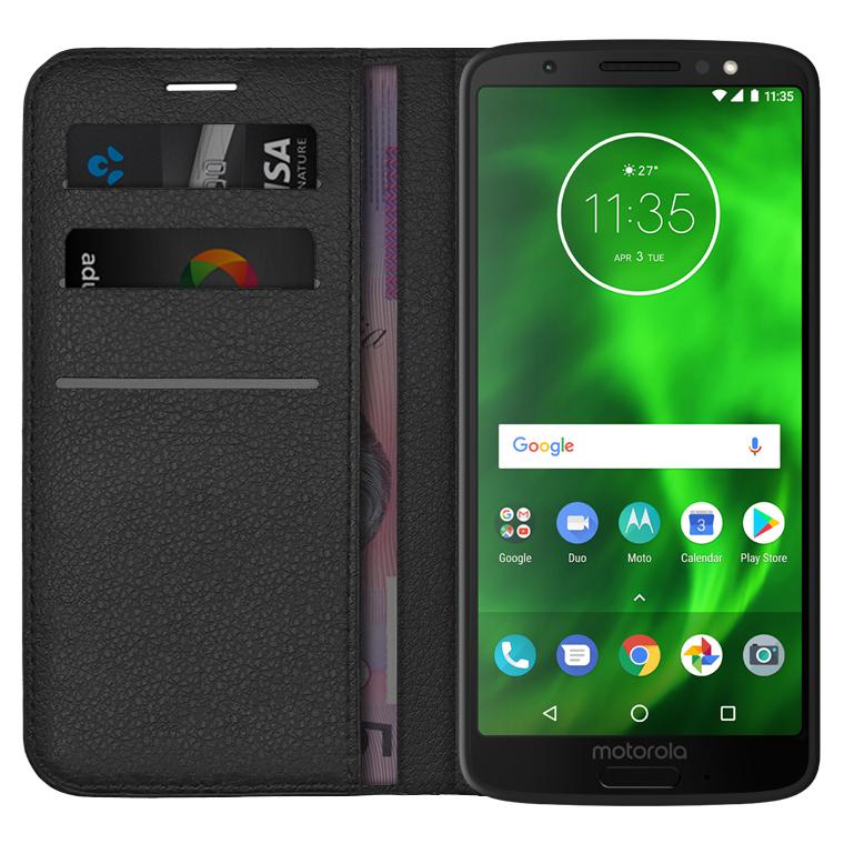 new style b25b4 63955 Leather Wallet Case & Card Holder for Motorola Moto G6 (Black)